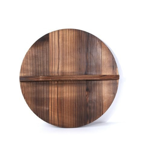 Wooden wood cover Handmade fir anti scalding pot lid cover wok lid hypotenuse iron wood lid
