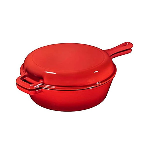 2 in 1 enamel cast iron combo cooker
